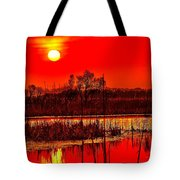 Firey Dawn Over The Marsh Tote Bag