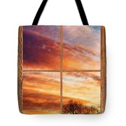 First Dawn Barn Wood Picture Window Frame View Tote Bag