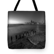 First Hint Of Sunlight In Black And White Tote Bag