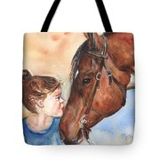 Horse Painting Of Paint Horse And Girl First Kiss Tote Bag