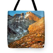 First Light At Longs Peak Tote Bag by Eric Glaser