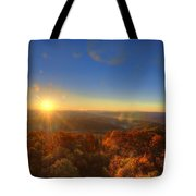 First Morning Light Striking Top Of Trees Tote Bag