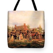 First Railroad Train On The Mohawk And Hudson Tote Bag