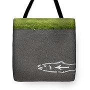 Fish And Arrow On Pavement Tote Bag