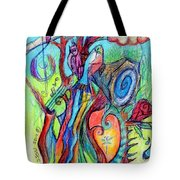 Fish Feather In Teapot Tree Guarded By Human Bird Tote Bag