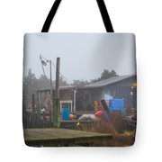 Fish House In Fog Tote Bag