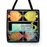 Fish Stories Told Here Tote Bag