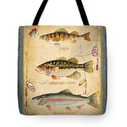 Fish Trio-a-blue Wood Tote Bag by Jean Plout