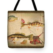Fish Trio-a-greenborder Tote Bag