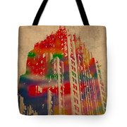 Fisher Building Iconic Buildings Of Detroit Watercolor On Worn Canvas Series Number 4 Tote Bag by Design Turnpike