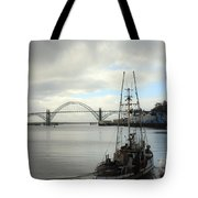 Fisherman At Newport Bay In Oregon II Tote Bag