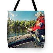 Fisherman Sitting On Foredeck Tote Bag