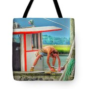 Fisherman Working On His Boat Tote Bag