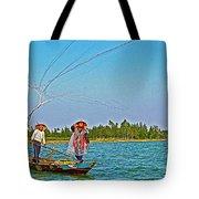 Fishermen Casting A Broad Net On Thu Bon River In Hoi An-vietnam Tote Bag