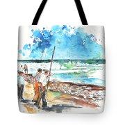 Fishermen In Praia De Mira 02 Tote Bag