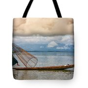 Fishermen In The Inle Lake. Myanmar Tote Bag