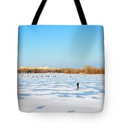 Fishermen On The Frozen River Tote Bag