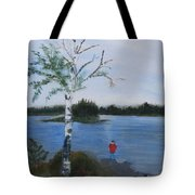 Fishing At First Connecticut Lake Tote Bag