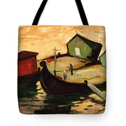 Fishing Barges On The River Sugovica Tote Bag by Emil Parrag