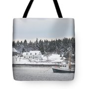 Fishing Boat After Snowstorm In Port Clyde Harbor Maine Tote Bag