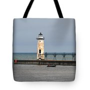 Fishing Boat And Lighthouse Tote Bag
