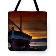 Fishing Boat At Sunset Tote Bag