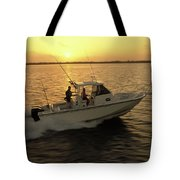 Fishing Boat Coming In At Sunset Tote Bag