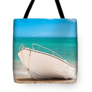 Fishing Boat On The Beach Algarve Portugal Tote Bag