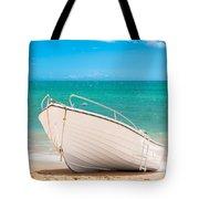 Fishing Boat On The Beach Algarve Portugal Tote Bag by Amanda Elwell