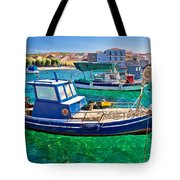 Fishing Boat On Turquoise Sea Tote Bag