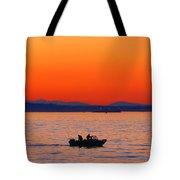Fishermen At Sunset Puget Sound Washington Tote Bag