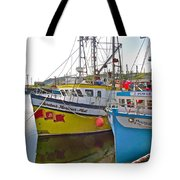 Fishing Boat Reflection In Branch-newfoundland-canada Tote Bag