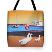 Fishing Boat Walberswick With Geese Tote Bag