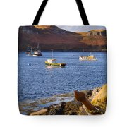 Fishing Boats At Anchor In A Quiet Bay On The Isle Of Skye In Sc Tote Bag