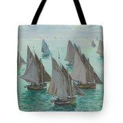 Fishing Boats Calm Sea Tote Bag