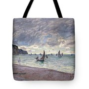 Fishing Boats In Front Of The Beach And Cliffs Of Pourville Tote Bag