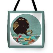 Fishing Cat Black Tote Bag