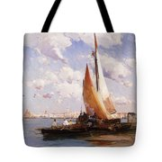Fishing Craft With The Rivere Degli Schiavoni Venice Tote Bag
