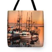 Fishing Fleet Sunset Boat Reflection At Fishermans Wharf Morro Bay California Tote Bag