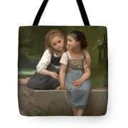 Fishing For Frogs Tote Bag by William Bouguereau