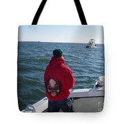 Fishing In Rough Seas Tote Bag