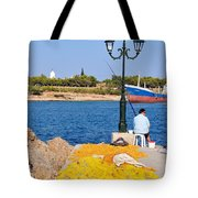 Fishing In Spetses Town Tote Bag