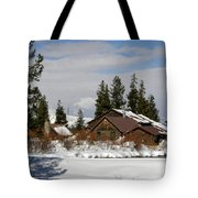 Fishing Lodge In The Winter Tote Bag
