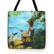 Fishing Off The Dock Tote Bag