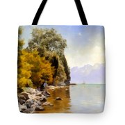 Fishing On Lac Leman Tote Bag
