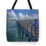 Fishing On Oceanside Pier Tote Bag