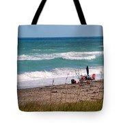 Fishing On The Beach Tote Bag