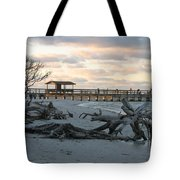 Fishing Pier And Driftwood Tote Bag