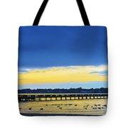 Fishing Pier At Sunset Tote Bag