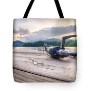 Fishing Tackle On A Wooden Float With Mountain Background In Nc Tote Bag